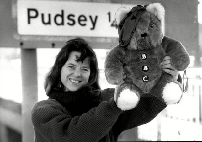 Mandatory Credit: Photo by Jeff Morris/ANL/REX Shutterstock (2812404a).. Children's Toy Teddy Bears Bear Designer Joanna Ball With Pudsey Bear To Be Used As Mascot For Children In Need... Children's Toy Teddy Bears Bear Designer Joanna Ball With Pudsey Bear To Be Used As Mascot For Children In Need... ..