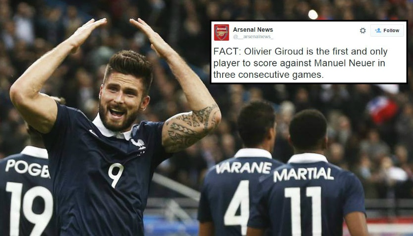 Arsenal's Olivier Giroud makes history with goal against Manuel Neuer during France v Germany