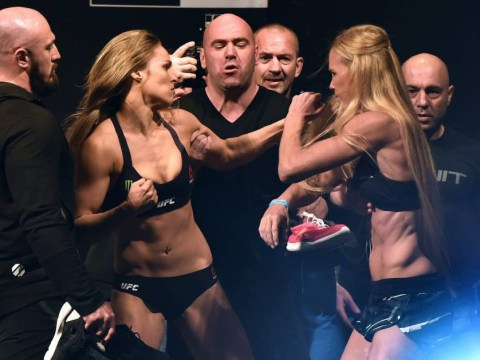 Ronda Rousey clashes with Holly Holm during weigh-in ahead of UFC world title fight