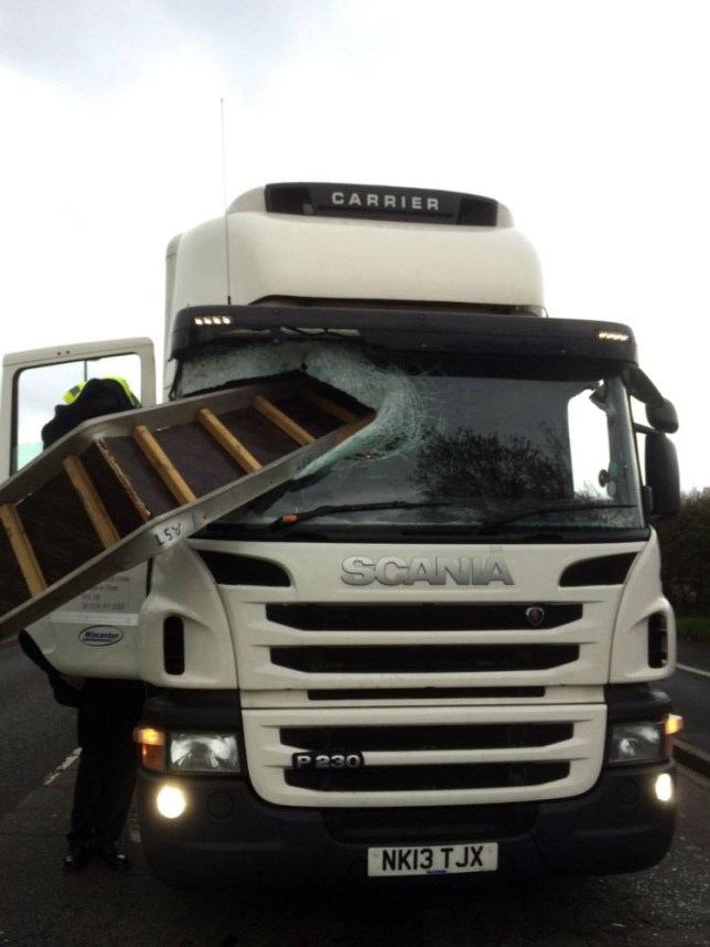 MEN SYNDICATIONnDavid Monaghan (correct) of Eccles, Salford, who was travelling to Shrewsbury in his lorry when a metal platform crashed through his window screen. He miraculously escaped death by ducking at the wheel and the drama was caught on his dashcam.nWife Barbara (left) daughter Joanne Gibson (right)nPictures Andy Lambert/MENnnnn