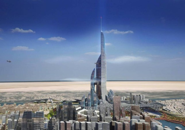 PIC FROM AMBS ARCHITECTS / CATERS NEWS - (PICTURED: A rendering of the towers design.) Previously confidential plans have been released which propose building a giant Vertical City in Basra, Iraq. The structure - a tower named The Bride - would feature four climbing towers dwarfing the worlds other mega structures including the Burj Khalifa. The Brides tallest structure would be a 241-floor, 3162-foot-high centrepiece, Tower 1, made up of seven sections that designers say would relegate super tall towers as a thing of the past. Proposals for The Bride, which look to answer oil-rich Basras intention of maximising the citys capacity by 2025, were put forward by AMBS Architects. - SEE CATERS COPY