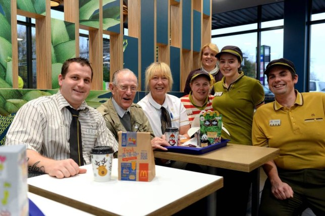 FROM JOHN JEFFAY AT CASCADE NEWS LTD 0161 660 8087 / 07771 957773 john@cascadenews.co.uk.. CASCADE NEWS WHITEHAVEN EXPRESS AND STAR.. .. STAFF WITH HARRY.. .. A 93-year old who loves Mcdonalds Happy Meals was over the moon when staff threw him a surprise party... Harry Scott has been visiting his local restaurant at least six times a week to cope with loneliness after the .... death of his wife Martha... He is such a popular figure in the Workington branch of the fast food chain he even has his own table... Harry from Crooklands, in High Harrington normally comes in early in the afternoon for a Happy Meal and .... sometimes evens returns for his evening meal.