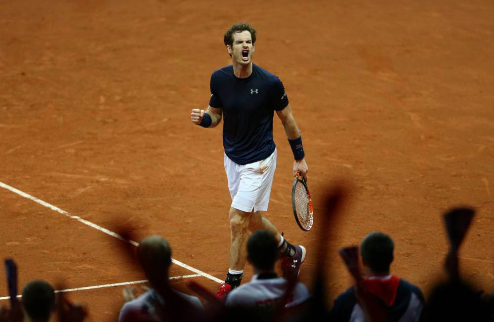 GHENT, BELGIUM - NOVEMBER 27: Andy Murray of Great Britain celebrates a point during the singles match against Ruben Bemelmens of Belgium on day one of the Davis Cup Final 2015 at Flanders Expo on November 27, 2015 in Ghent, Belgium. (Photo by Clive Brunskill/Getty Images)