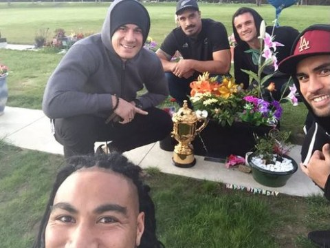 All Blacks celebrate Jerry Collins' birthday by taking Rugby World Cup trophy to his grave