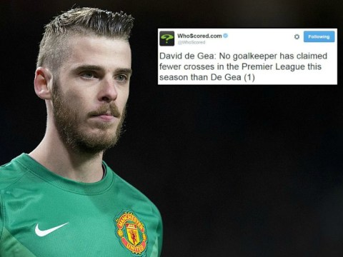 Manchester United keeper David De Gea has claimed just one cross in the Premier League this season