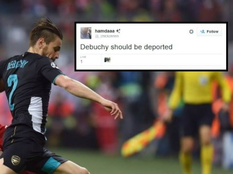 Arsenal fans demand Mathieu Debuchy is deported after poor performance v Bayern Munich