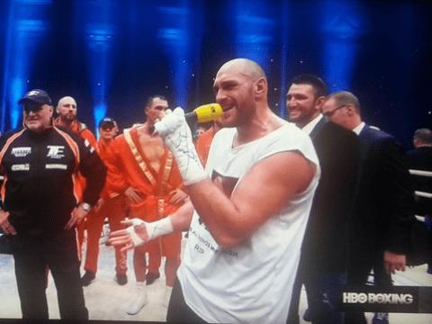 Tyson Fury sings Aerosmith to wife Paris Fury after beating Wladimir Klitschko to become world champion