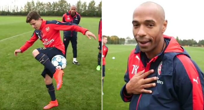 Arsenal coach Thierry Henry leads Under-19s in skill school video