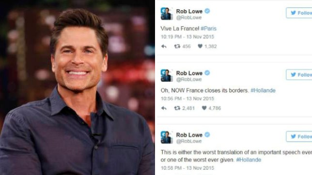 outlet store 11fb7 f73e2 Rob Lowe slams  trolls  as he defends his  distasteful  tweets in wake of  Paris terror attacks