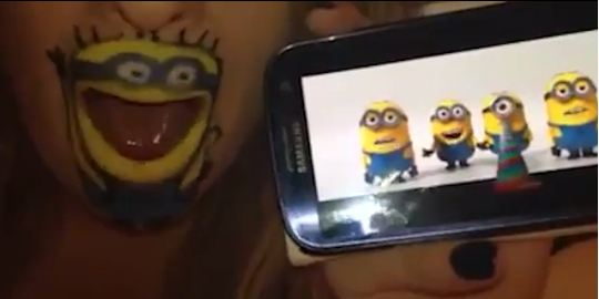 Girl transforms herself into a Minion, joins them for a rendition of the Banana Song