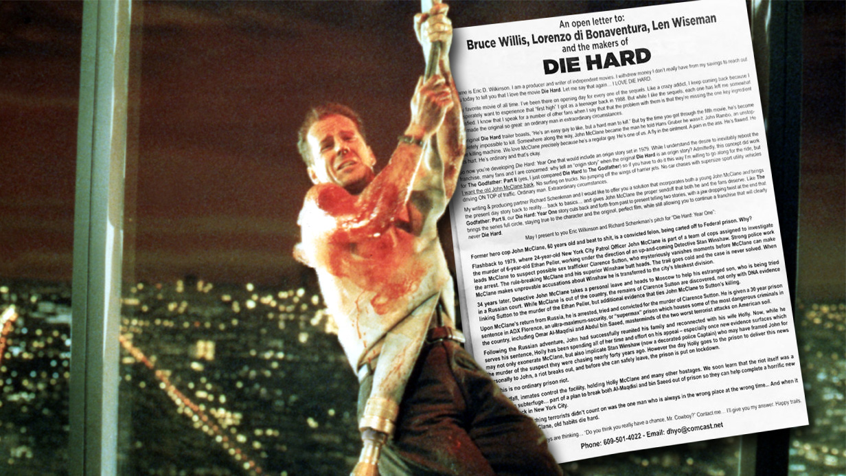 Someone has taken out a full page advert to pitch their idea for Die Hard 6