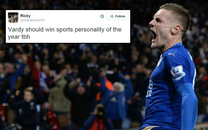 Jamie Vardy backed to win Sports Personality of the Year after record-breaking goal during Leicester v Manchester United