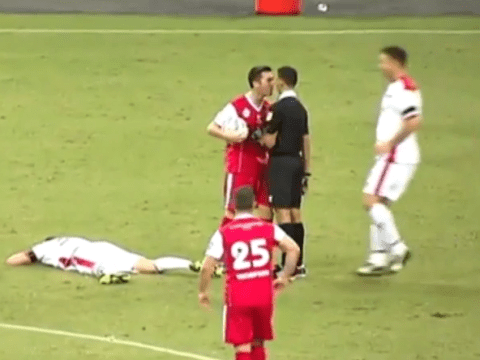 Liverpool legend Luis Garcia scores v Man Utd, then squares up to the referee