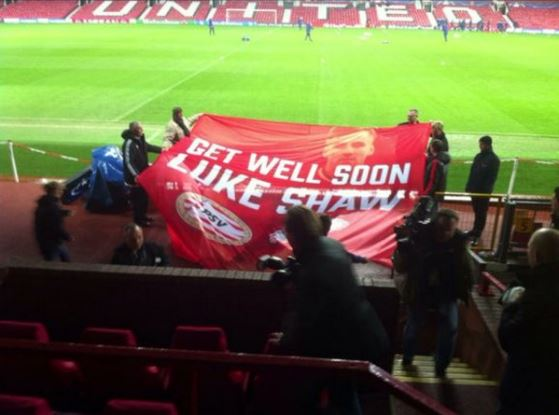 PSV fans create Get Well Soon banner for injured Luke Shaw ahead of Manchester United clash