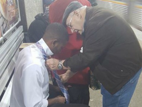 Picture of elderly couple helping young man with his tie has touched the world
