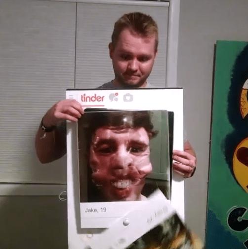 man creates incredible functional tinder profile halloween costume 2