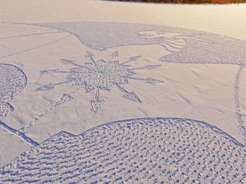 This man walked all day in the snow to create a giant drawing of a dragon