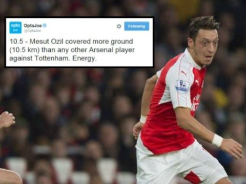 Mesut Ozil covered more ground than any other Arsenal player versus Tottenham