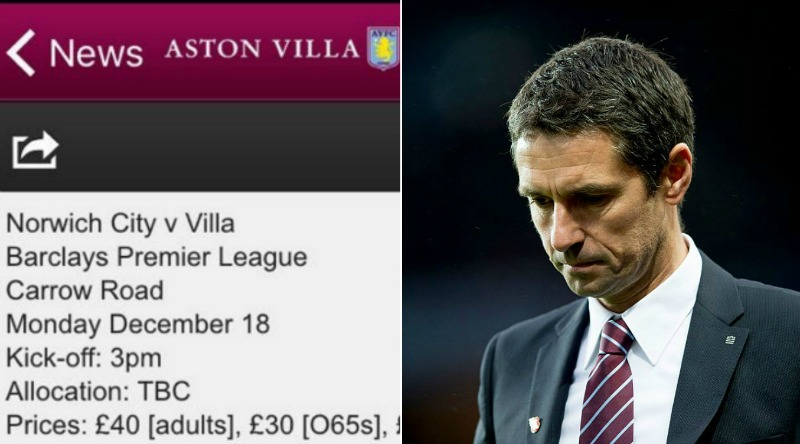 Aston Villa actually manage to get the date of their own match wrong