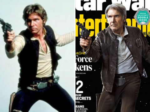 Harrison Ford recreates his famous Han Solo pose in new Star Wars: The Force Awakens pics