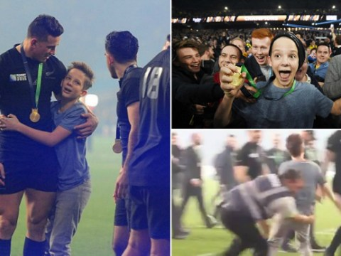 New Zealand's Sonny Bill Williams gives fan Rugby World Cup winner's medal after steward wiped him out