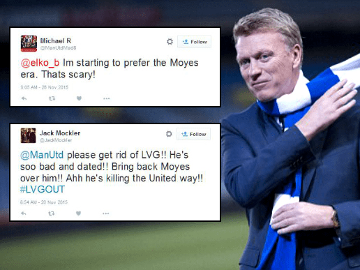 Manchester United fans call for David Moyes to return after another awful Louis van Gaal performance
