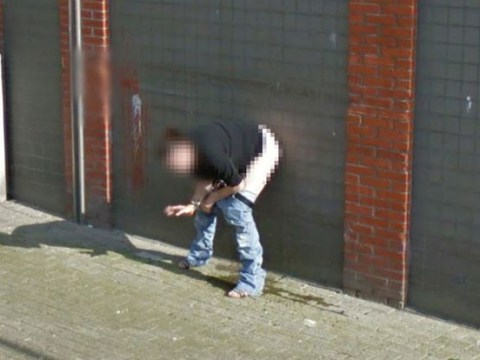 Woman caught weeing against wall while smoking cigarette on Google Street View