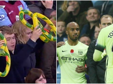 Aston Villa fans hiss and wave inflatable snakes as Manchester City's Fabian Delph returns to Villa Park