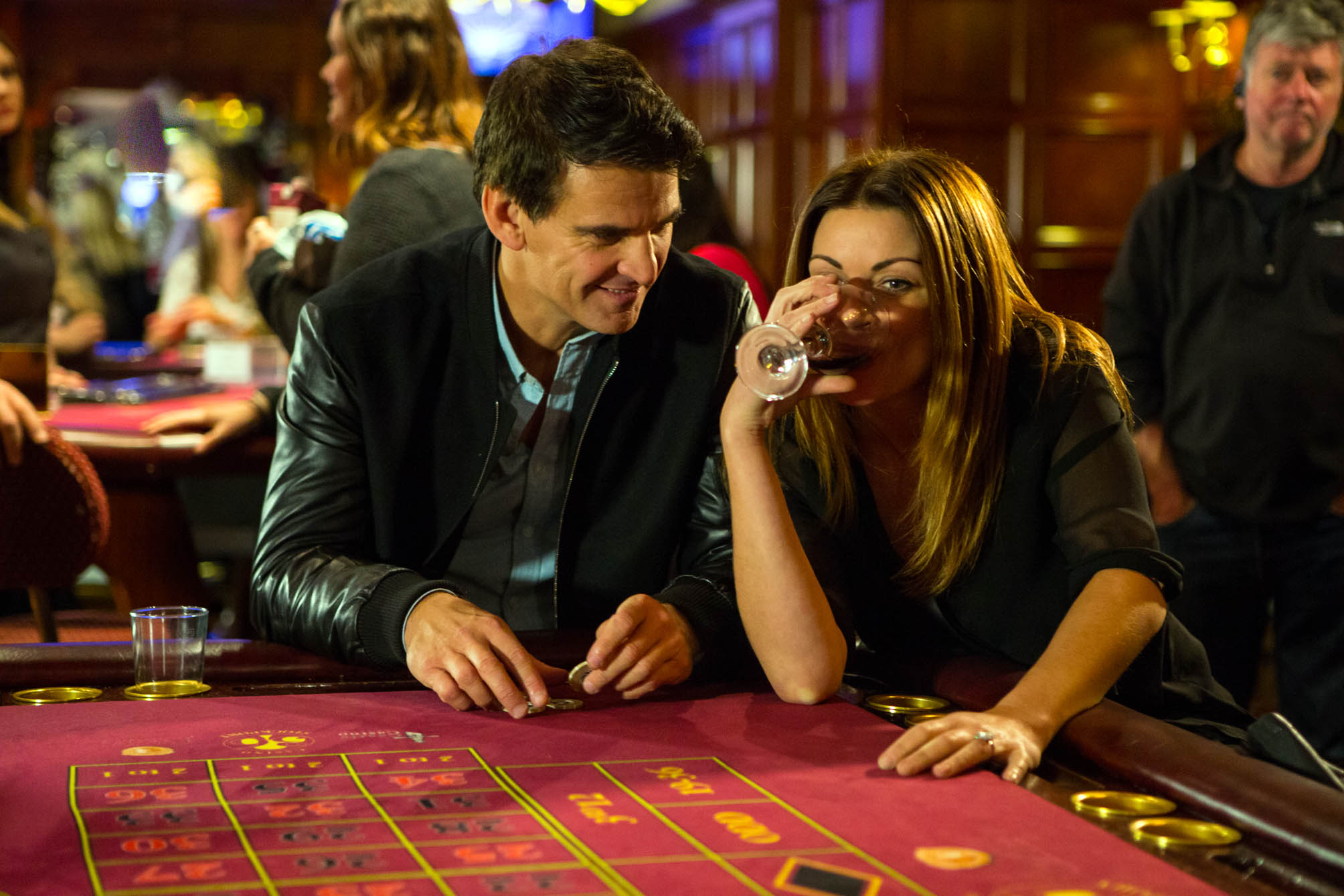 FROM ITV STRICT EMBARGO - Tuesday 15 December 2015 Coronation Street - Ep 8807 Friday 1 January 2016 - 1st EP Immersing herself in a game of roulette, Carla Connor [ALISON KING] is surprised when Robert Preston [TRISTAN GEMMILL], still cut up over Tracy, enters the casino and joins her at the table. Having won a small fortune, Robert and Carla celebrate with a drink. On a high, Robert suggests they take the champagne to a bedroom, will Carla agree? Picture desk contact - david.crook@itv.com Photographer - Mark Bruce This photograph is (C) ITV Plc and can only be reproduced for editorial purposes directly in connection with the programme or event mentioned above, or ITV plc. Once made available by ITV plc Picture Desk, this photograph can be reproduced once only up until the transmission [TX] date and no reproduction fee will be charged. Any subsequent usage may incur a fee. This photograph must not be manipulated [excluding basic cropping] in a manner which alters the visual appearance of the person photographed deemed detrimental or inappropriate by ITV plc Picture Desk. This photograph must not be syndicated to any other company, publication or website, or permanently archived, without the express written permission of ITV Plc Picture Desk. Full Terms and conditions are available on the website www.itvpictures.com