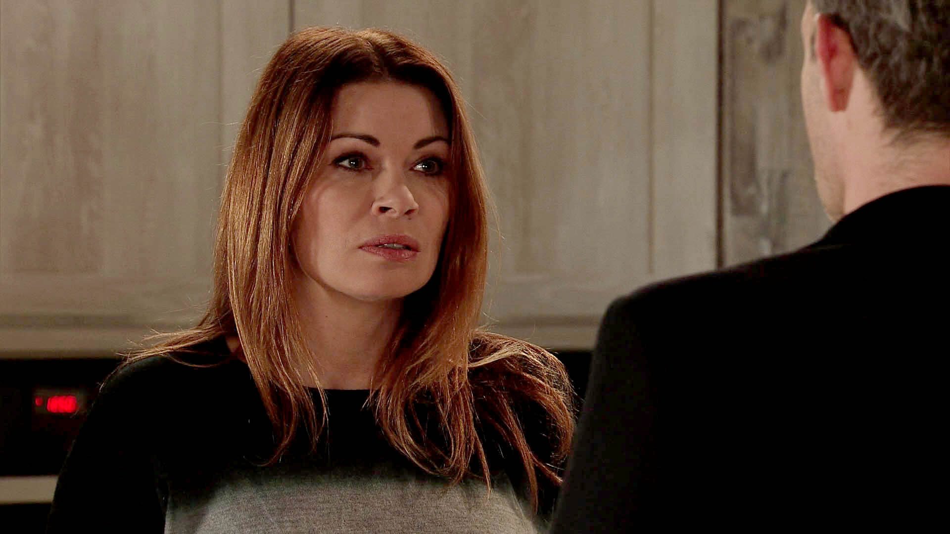 FROM ITV STRICT EMBARGO - No Use Before Tuesday 5 January 2016 Coronation Street - Ep 8814 Monday 11 January 2016 - 1st ep Carla Connor [ALISON KING] admits to Michelle she's consumed with guilt and dreading the wedding. Michelle urges her to talk to Nick Tilsley [BEN PRICE]. Carla bites the bullet and tells Nick she can't marry him! Picture contact: david.crook@itv.com on 0161 952 6214 Photographer - Mark Bruce This photograph is (C) ITV Plc and can only be reproduced for editorial purposes directly in connection with the programme or event mentioned above, or ITV plc. Once made available by ITV plc Picture Desk, this photograph can be reproduced once only up until the transmission [TX] date and no reproduction fee will be charged. Any subsequent usage may incur a fee. This photograph must not be manipulated [excluding basic cropping] in a manner which alters the visual appearance of the person photographed deemed detrimental or inappropriate by ITV plc Picture Desk. This photograph must not be syndicated to any other company, publication or website, or permanently archived, without the express written permission of ITV Plc Picture Desk. Full Terms and conditions are available on the website www.itvpictur