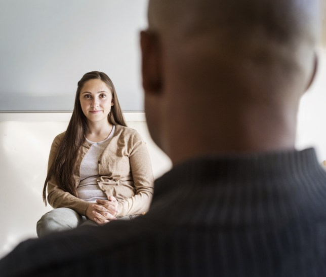 therapist and patient talking