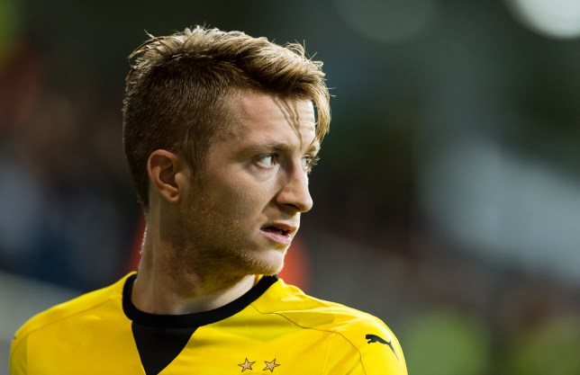 BAKU, AZERBAIJAN - OCTOBER 22: Marco Reus of Borussia Dortmund looks on during the UEFA Europa League match between Qabala FK and Borussia Dortmund at Bakcell Arena on October 22, 2015 in Baku, Azerbaijan. (Photo by Alexandre Simoes/Borussia Dortmund/Getty Images)