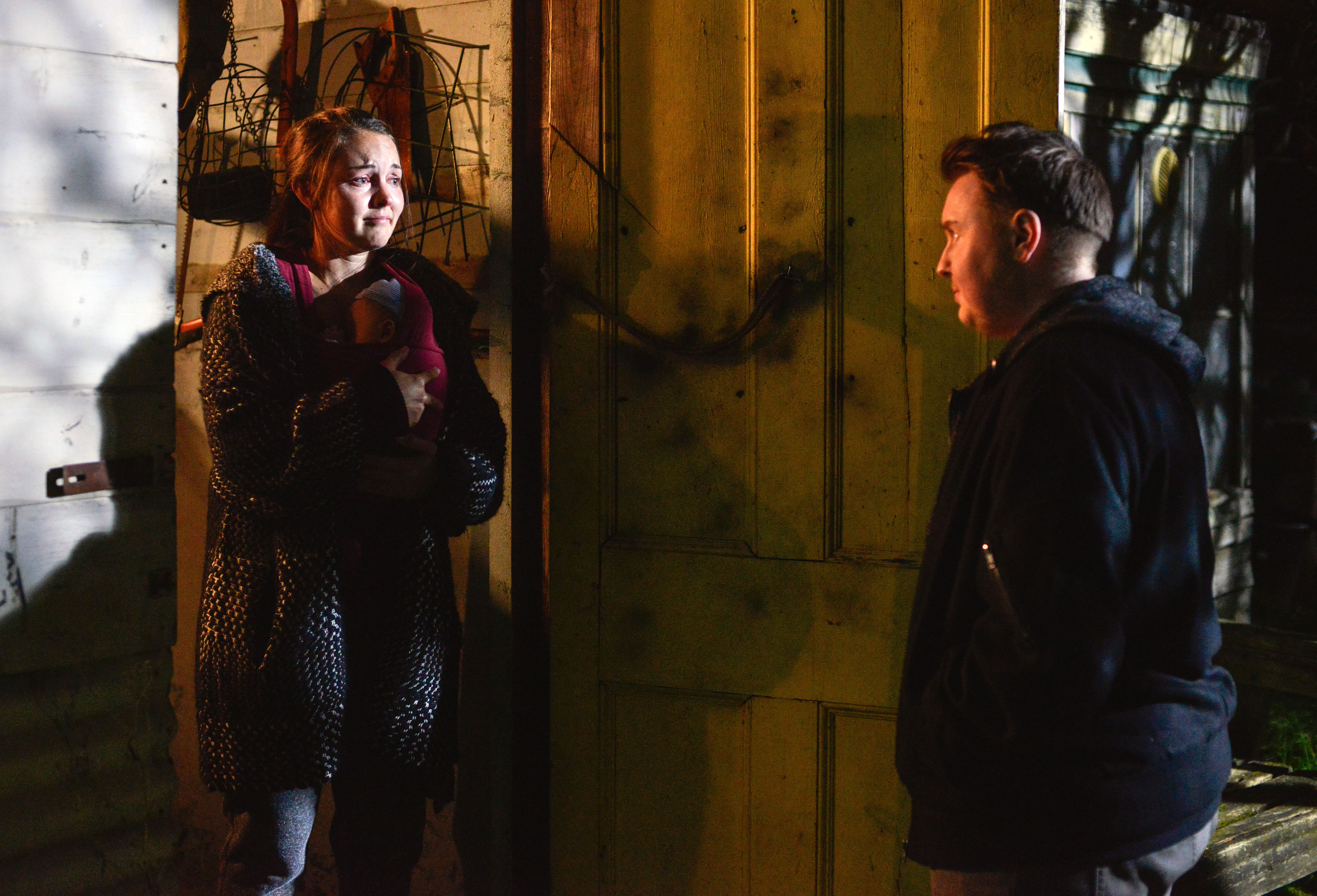WARNING: Embargoed for publication until 00:00:01 on 02/01/2016 - Programme Name: Eastenders - TX: 07/01/2016 - Episode: 5207 (No. 5207) - Picture Shows: Stacey phones for Kyle and he arrives. Stacey Branning (LACEY TURNER), Kyle (RILEY CARTER MILLINGTON) - (C) BBC - Photographer: Kieron McCarron