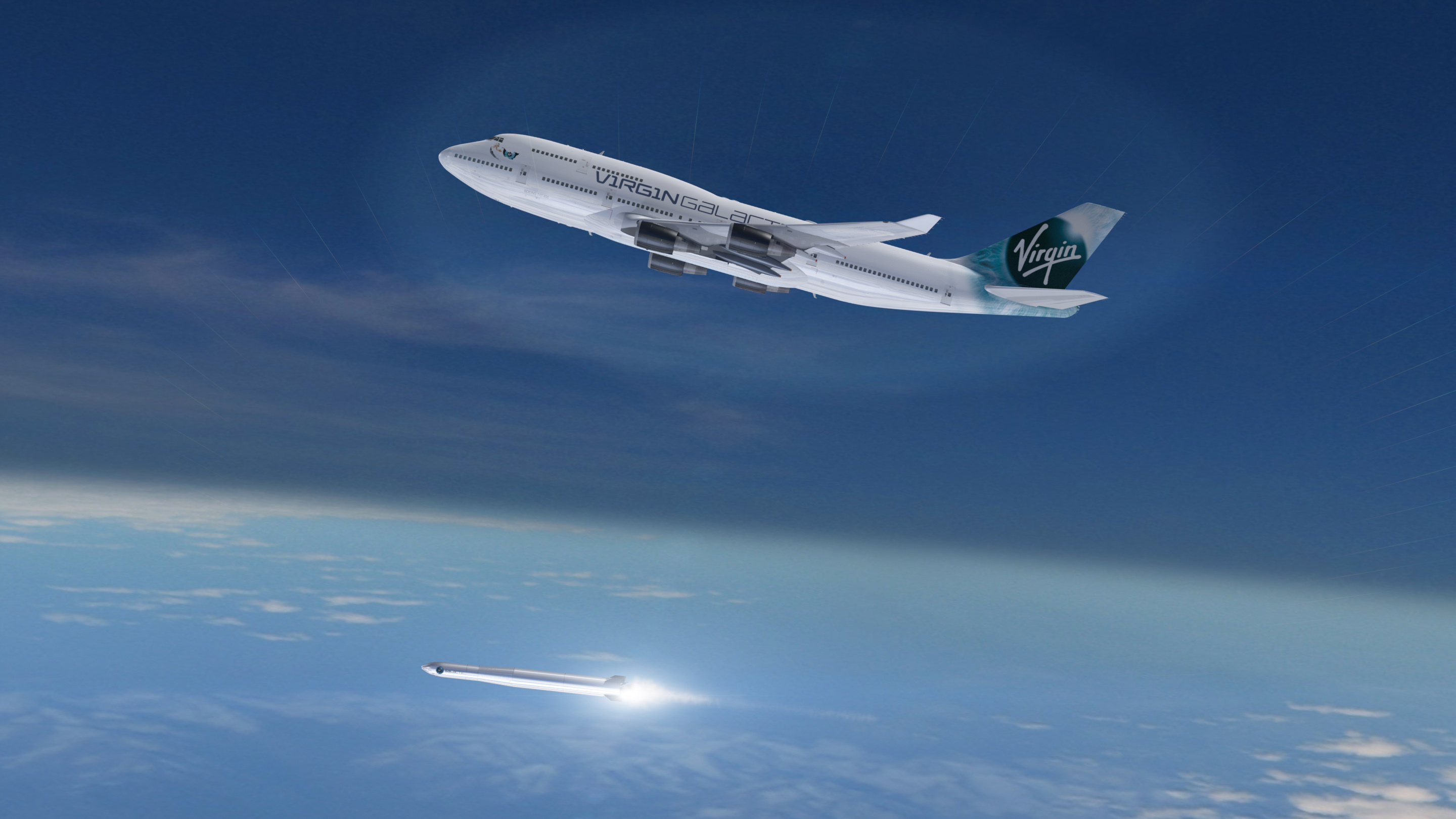 An artists impression issued by Virgin Galactic of a 747 jumbo jet which will be used as a launchpad (Picture: PA)