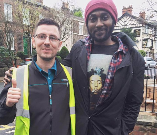 Faris Khalifa and Stephen Humphris. Mr Humphris is a bus driver from Prescot who stopped his bus to give £5 to a homeless man in the rain. Mr Khalifa saw his generosity and started a collection to give him a Christmas hamper to reward him for his generosity.