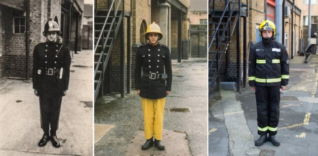 From left the family of firefighters Colin Gunn in 1966, Nick Gunn in 1988 and now Owen Gunn in 2015. See SWNS story SWFIRE; A young cadet recreated a picture taken of his father and grandfather to complete a sixty year family tradition of joining the fire brigade. Owen Gunn, 16, joined the London Fire Brigade as cadet, following in the footsteps of the two generations that came before him. Owen's grandfather Colin Gunn became a firefighter in 1966 and posed for a photograph outside Southwark Training Centre on the day of his pass out ceremony. Colinís son, Crew Manager Nick Gunn, joined in 1988 and had his photograph taken in exactly the same place and is currently based at Romford Fire Station. Colin retired in 1991, however, for a few years both father and son served in the Brigade at the same time. Now Owen has had his image taken in exactly the same as he trains with the Fire Cadets to one day become a firefighter himself.