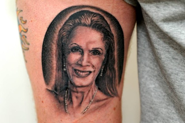 """Richard Stoval who has had a tattoo of I'm a Celeb contestant Lady C put on the back of his leg. See SWNS story SWLADYC; A man got a huge tattoo of 'I'm A Celebrity...' star Lady Colin Campbell on his leg - for a JOKE. What all started off as a laugh between friends ended up in Richard Stovell (corr), 42, getting a realistic and permanent homage to the reality show contestant on his left leg. Richard, from Worthing, West Sussex, has been getting tattoos since the age of 15 and now 27 years later has more than 150 covering most of his body. Richard said: """"I don't normally watch I'm A Celeb, but I found this year's quite interesting."""