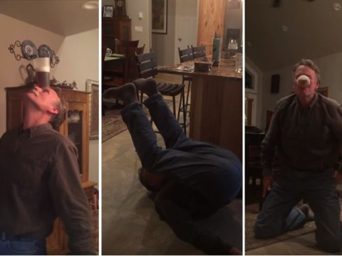 60-year-old badass demonstrates how you drink a pint without using your hands