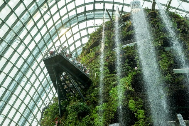 Towering Biodome Features World's Largest Indoor Waterfall in the Middle of the City Credit: Gardens by the Bay