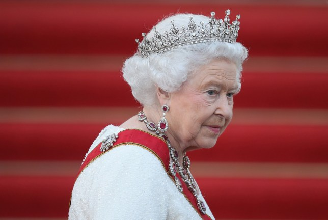 Queen Elizabeth II arrives for the state banquet in Berlin (Picture: Getty Images)