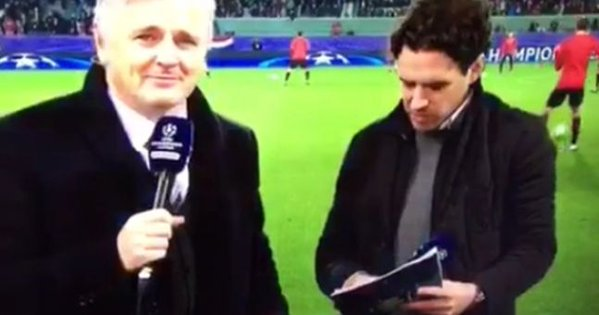 Watch the incredibly awkward moment Owen Hargreaves is caught criticising Louis van Gaal live on air