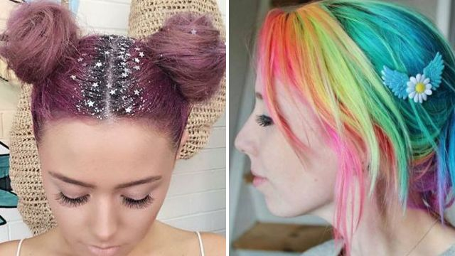 glitter roots and rainbow hair