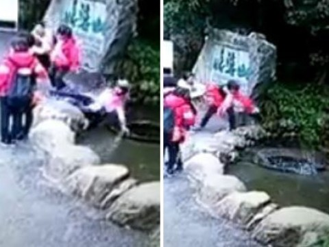 Woman trips up backwards and ends up falling into massive well
