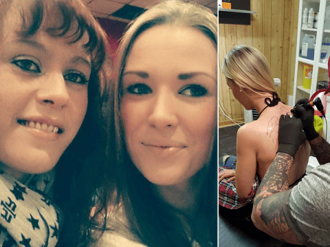 Grieving woman gets sister's ashes tattooed into a portrait on her back