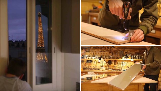 Man turns his flat into a giant periscope so he can see the Eiffel Tower from his bed