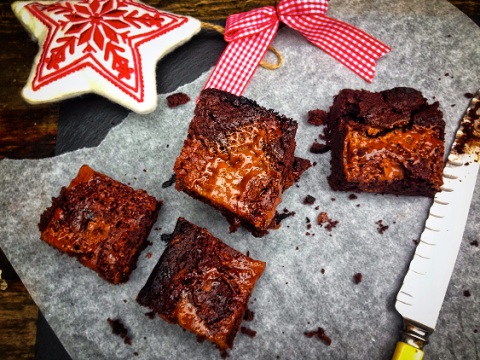 Brownie Day recipe – salted caramel triple fudge truffle brownies