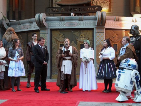 Bride and groom married by Obi Wan Kenobi in epic Star Wars wedding
