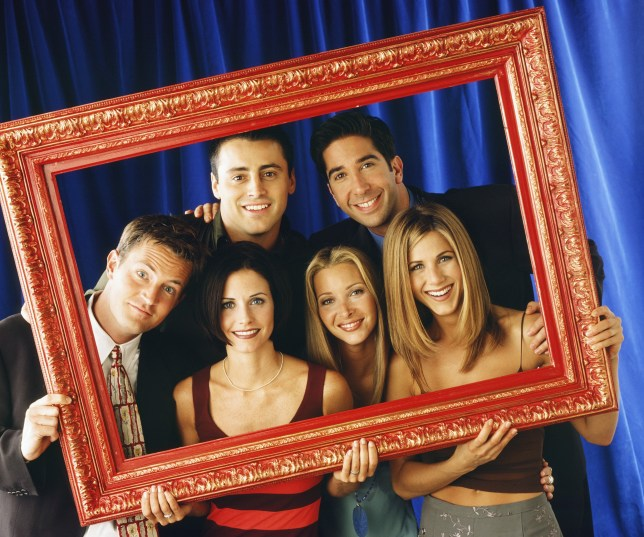 FRIENDS -- Pictured: (front l-r) Matthew Perry as Chandler Bing, Courteney Cox as Monica Geller, Lisa Kudrow as Phoebe Buffay, Jennifer Aniston as Rachel Green (back l-r) Matt LeBlanc as Joey Tribbiani, David Schwimmer as Ross Geller -- Photo by: Jon Ragel/NBCU Photo Bank