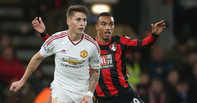 BOURNEMOUTH, ENGLAND - DECEMBER 12: Guillermo Varela of Manchester United in action with Junior Stanislas of AFC Bournemouth during the Barclays Premier League match between AFC Bournemouth and Manchester United at Vitality Stadium in Bournemouth, England. (Photo by Matthew Peters/Man Utd via Getty Images)