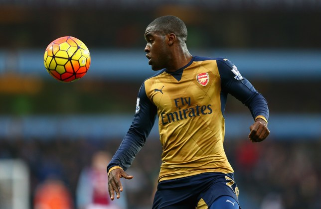 BIRMINGHAM, ENGLAND - DECEMBER 13: Joel Campbell of Arsenal in action during the Barclays Premier League match between Aston Villa and Arsenal at Villa Park on December 13, 2015 in Birmingham, England. (Photo by Clive Mason/Getty Images)